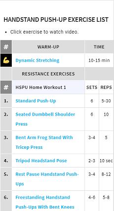 handstand pushup home workouts  handstandpushup